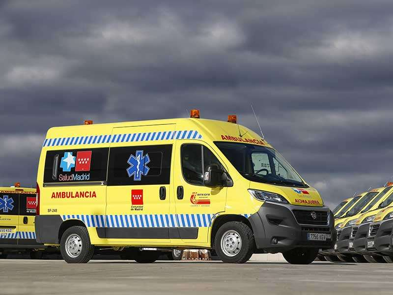 Fiat Ducato con el transporte sanitario de Madrid