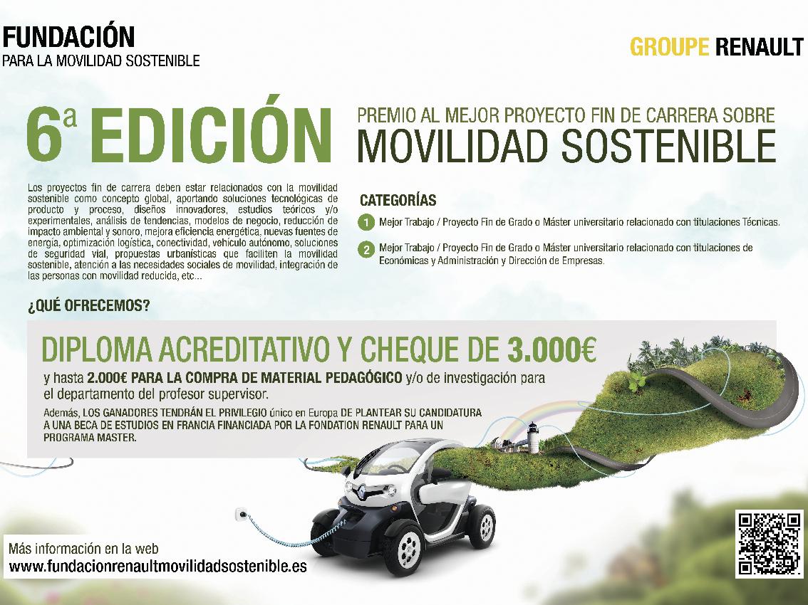 Renault convoca la VI Edición del Premio al Mejor Proyecto Fin de Carrera en Movilidad Sostenible